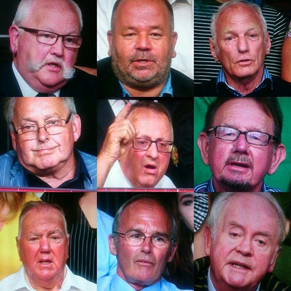 Famous image of 9 pink men from an episode of Question Time
