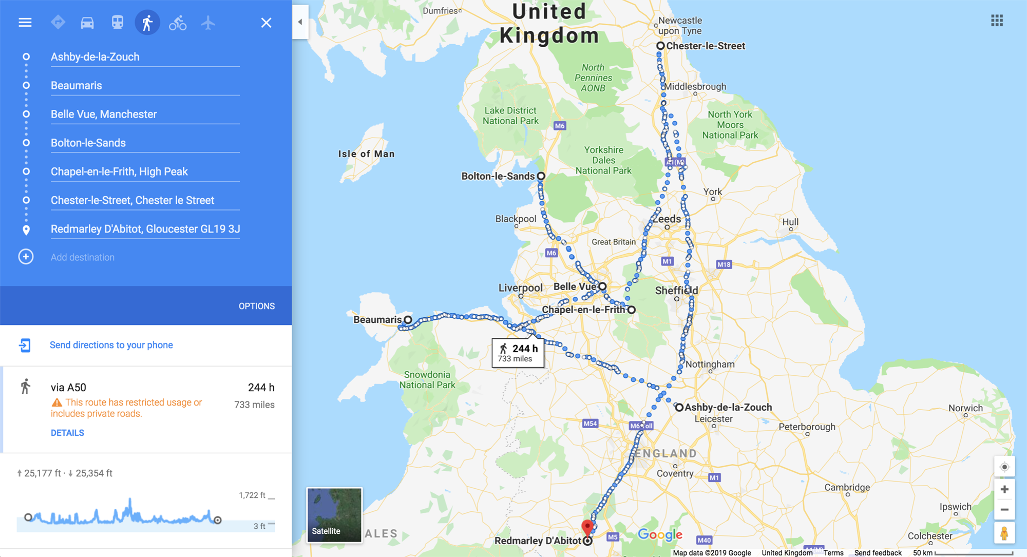 A Google Maps route plotted on foot that goes through the following places: Ashby-de-la-Zouche, Beaumaris, Belle Vue, Bolton-le-Sands, Chapel-en-le-Frith, Chester-le-Street and Redmarley D'Abitot. Google estimates it would take 244 hours to walk, 733 miles in total.